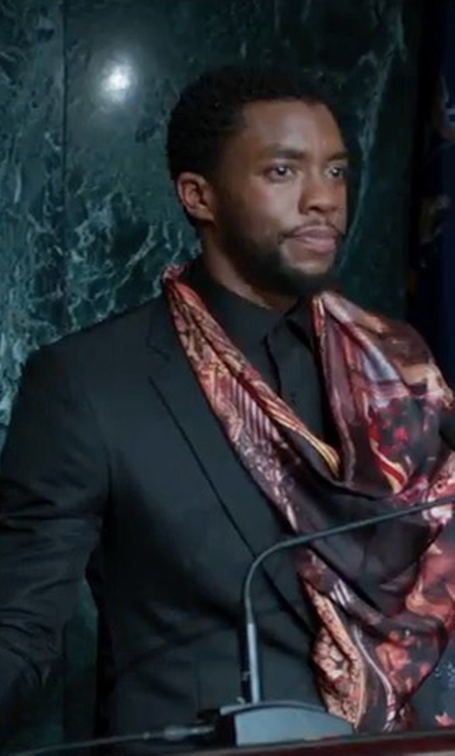 Chadwick Boseman with Boss Huge Genius Slim-Fit Basic Suit in Black Panther