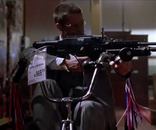 Brad Pitt with Micargi Hero Beach Cruiser Bike in Mr. & Mrs. Smith
