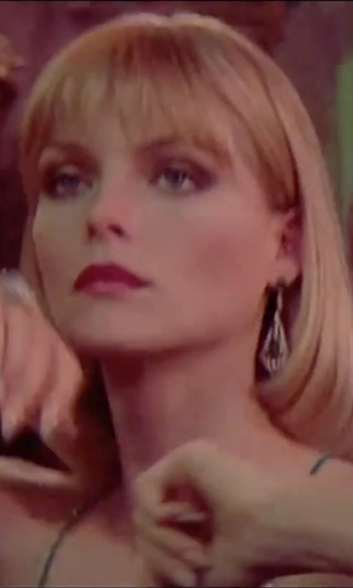 Michelle Pfeiffer with Judith Ripka Sapphire Yellow Gold & Sterling Silver Teardrop Earrings in Scarface