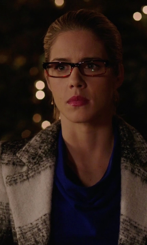 Emily Bett Rickards with Alice & Olivia 'Therese' Coat in Arrow