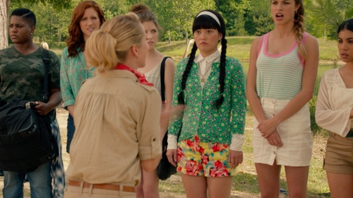 Hana Mae Lee with J.Crew Floral Printed Yellow Stretch Chino Short in Pitch Perfect 2
