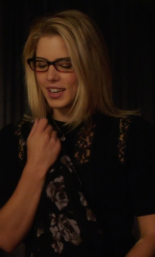 Emily Bett Rickards with Carven Knit & Lace Striped Sweater in Arrow