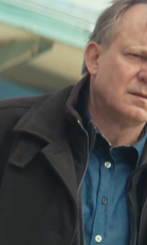 Stellan Skarsgård with Lauren By Ralph Lauren Edgar Double Collar Rain Coat in Thor