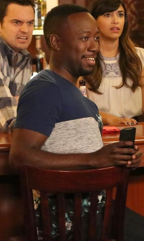 Lamorne Morris with Theory Koree Colorblock Short-Sleeve T-Shirt in New Girl