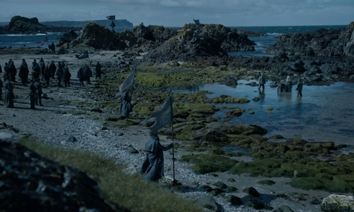 Unknown Actor with Ballintoy Harbour (Depicted as Port of Pyke) Moyle, United Kingdom in Game of Thrones