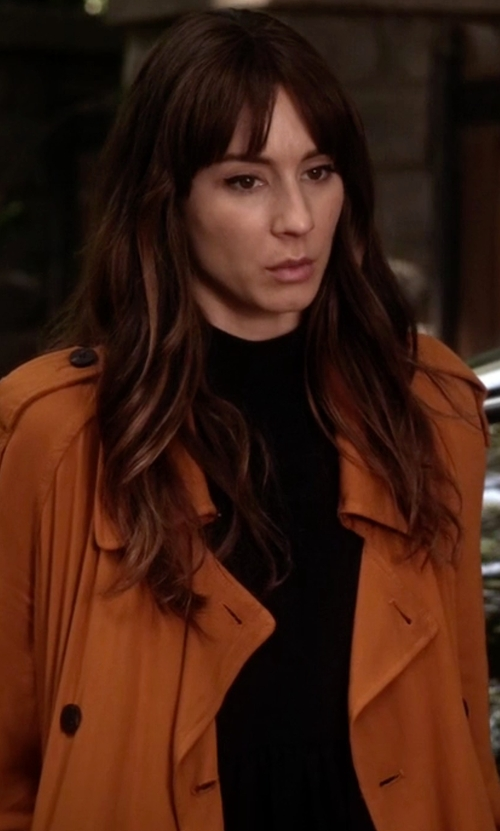 Troian Bellisario with Zara Trench Coat With Horn Button in Pretty Little Liars