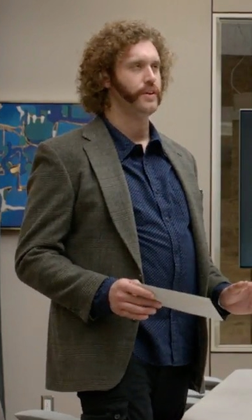 T.J. Miller with Polo Ralph Lauren Single-Breasted Jersey Blazer in Silicon Valley