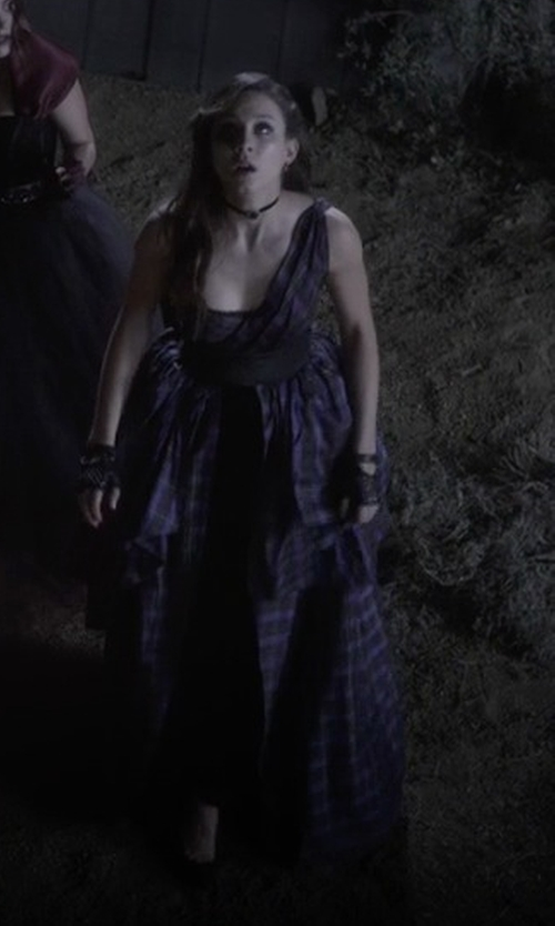 Troian Bellisario with Mandi Line (Costume Designer) Custom Made One Shoulder Plaid Dress in Pretty Little Liars