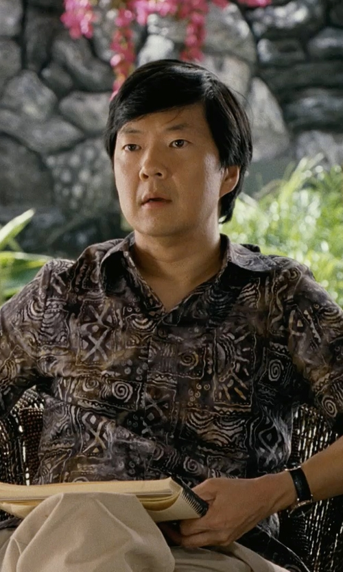 Ken Jeong with Johari West Island Fever Tropical Cotton Shirt By Johari West in Couple's Retreat