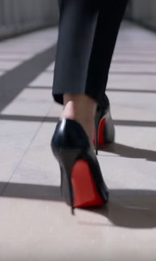 Hayley Atwell with Christian Louboutin So Kate Patent Leather Point-Toe Pump in Conviction