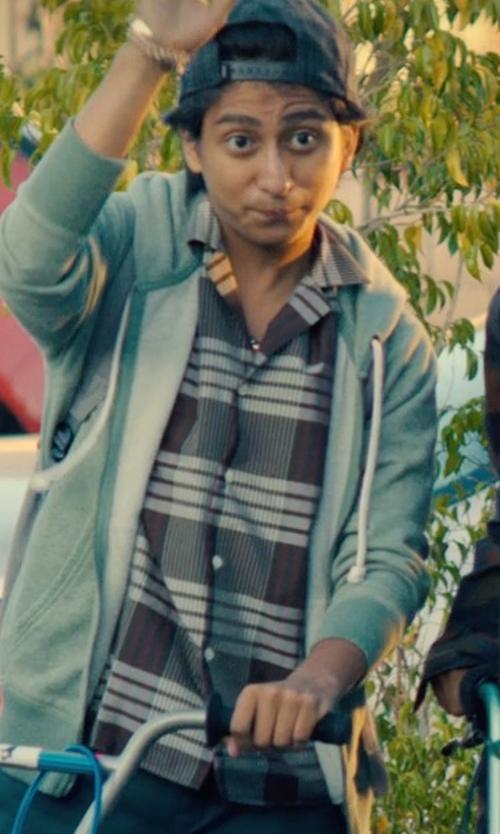 Tony Revolori with Carhartt Essential Plaid Button Down Short Sleeve Shirt in Dope