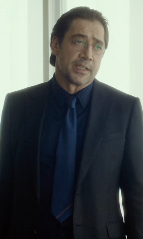 Javier Bardem with Barneys New York Solid Satin Neck Tie in The Gunman