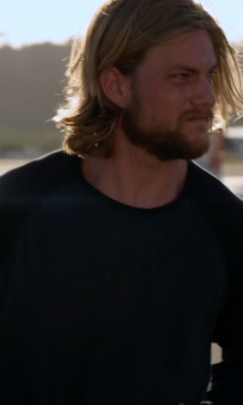 Jake Weary with Tom Ford Solid Raglan-Sleeve Sweatshirt in Animal Kingdom