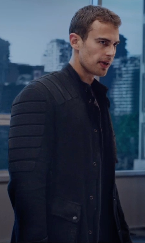 Theo James with Carlo Poggioli (Costume Designer) Custom Made 'Dauntless' Battle Uniform Jacket  (Four) in The Divergent Series: Insurgent