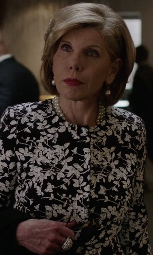 Christine Baranski with Veronica Beard Goldie Floral Silk Tuxedo Blouse in The Good Fight