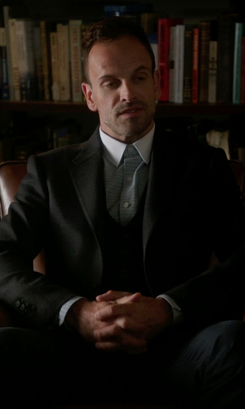 Jonny Lee Miller with Hugo Boss Wool 3-Piece Suit in Elementary