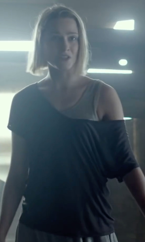 Evan Rachel Wood with T By Alexander Wang Viscose Jersey Low Neck Tee in Into the Forest