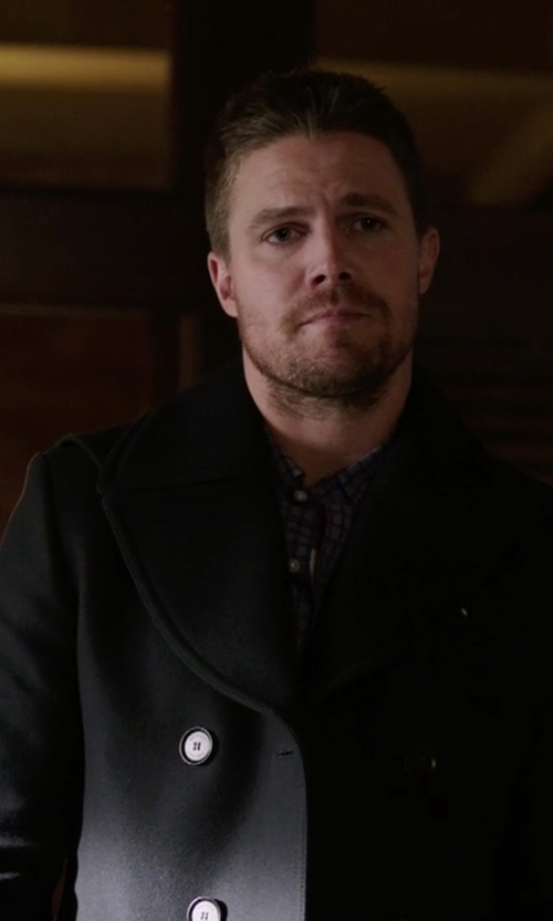 Stephen Amell with Belstaff Brentwood Double-Breasted Peacoat in Arrow