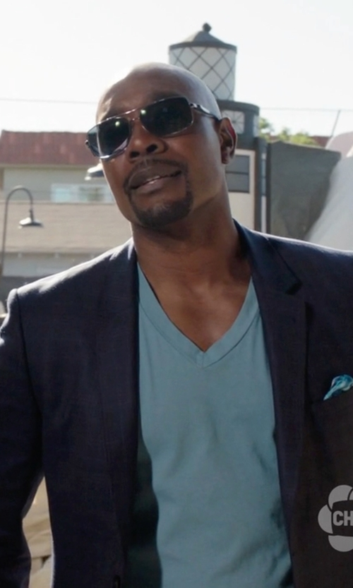 Morris Chestnut with Salvatore Ferragamo Navigator Titanium Sunglasses in Rosewood