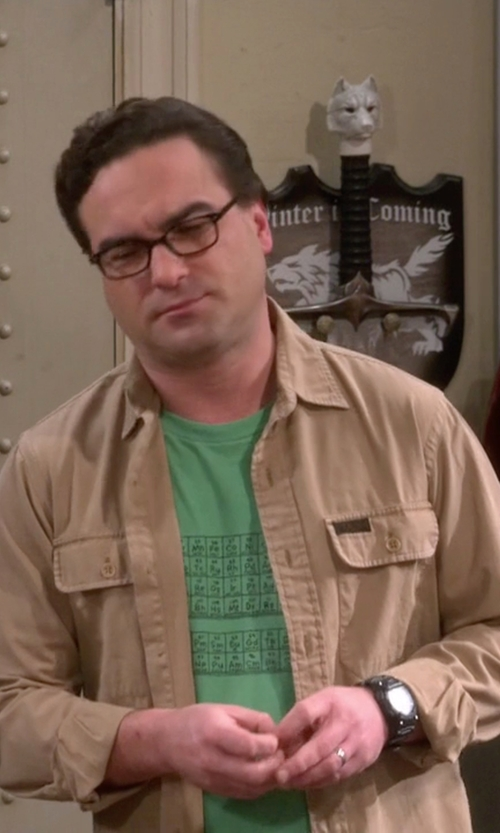 Johnny Galecki with Woot Questionable Table Of Elements Shirt in The Big Bang Theory