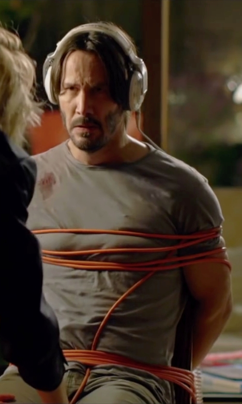 Keanu Reeves with Isaia Silk & Cotton Crewneck Tee in Knock Knock