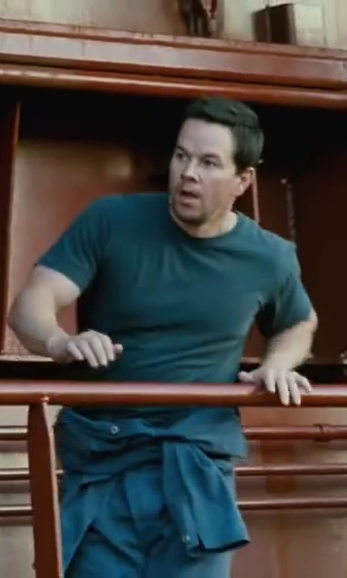 Mark Wahlberg with James Perse Crew Neck T-Shirt in Contraband
