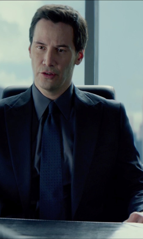 Keanu Reeves with Giorgio Armani Made to Measure Midnight Navy Blue Suit in Man of Tai Chi