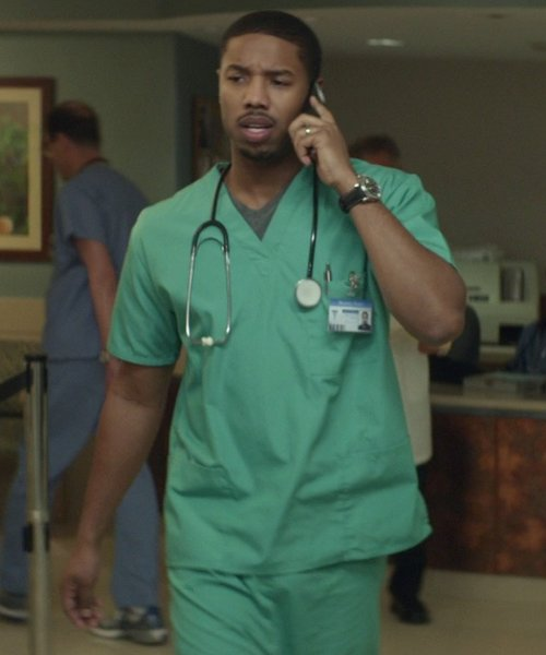 Michael B. Jordan with Cherokee Luxe Drawstring Pants Scrubs in That Awkward Moment