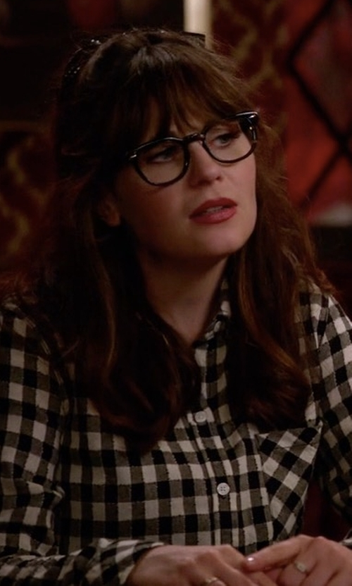 Zooey Deschanel with Lucky Brand Checkered Shirt in New Girl