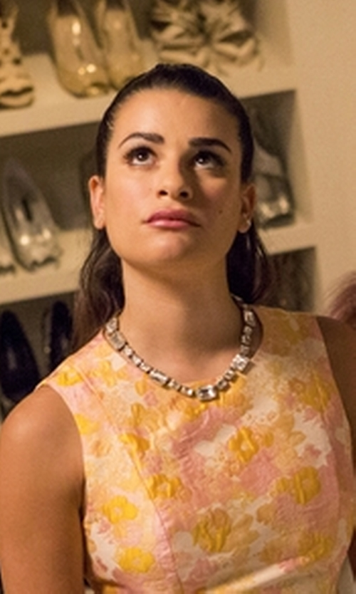 Lea Michele with Oscar De La Renta Octagon Stone Necklace in Scream Queens