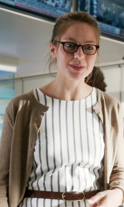 Melissa Benoist with Brodie Cashmere Cardigan Sweater in Supergirl