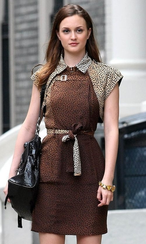 Leighton Meester with Gucci  Leopard Dress in Gossip Girl