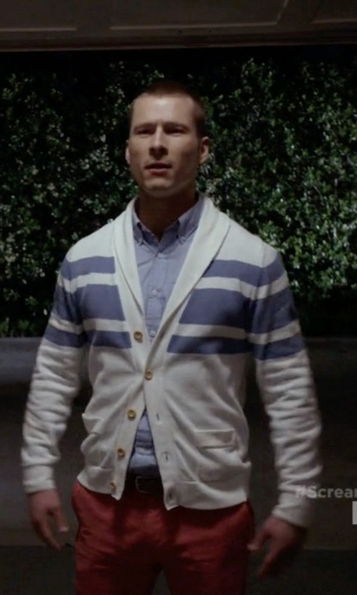 Glen Powell with Prada Saffiano Dress Belt in Scream Queens