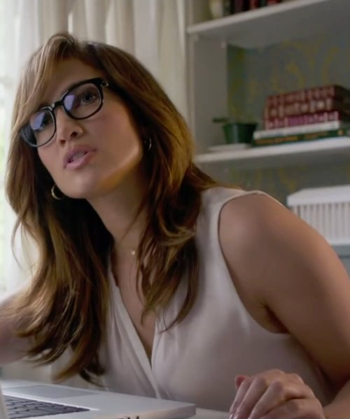 Jennifer Lopez with Banana Republic White Silk V-Neck Top in The Boy Next Door