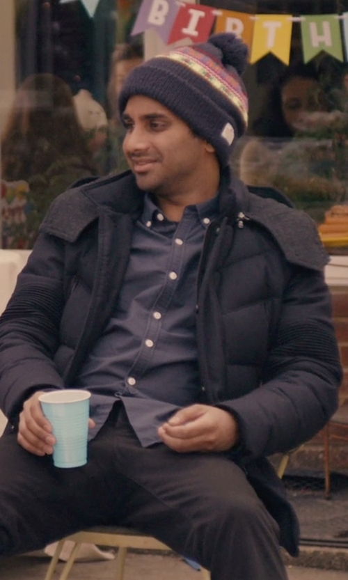 Aziz Ansari with Perry Ellis Nylon Zip Front Jacket in Master of None