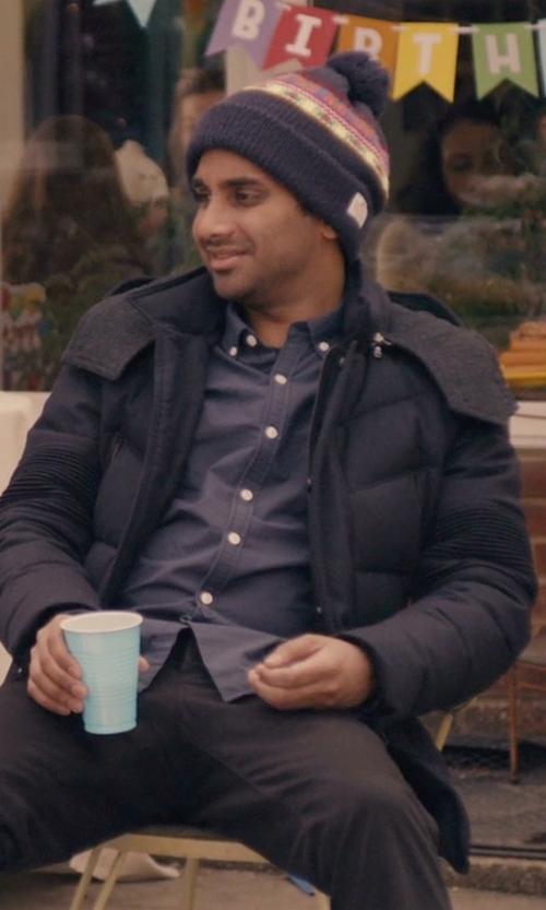 Aziz Ansari with Perry Ellis Nylon Zip Front Jacket in Master of None