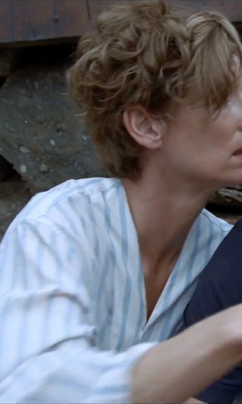 Tilda Swinton with Lumiere V-Neck Stripe Top in A Bigger Splash