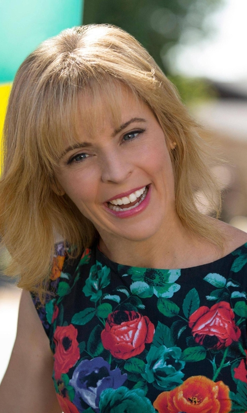 Maria Bamford with Ivanka Trump Sleeveless Floral-Print Sheath Dress in Lady Dynamite