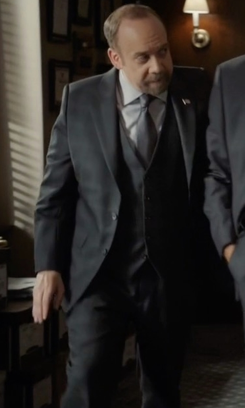 Paul Giamatti with Armani Collezioni Windowpane Three Piece Suit in Billions