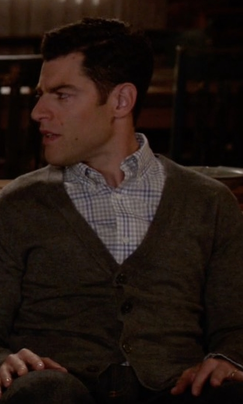 Max Greenfield with Eleventy Textured Merino Wool & Silk Blend Cardigan in New Girl