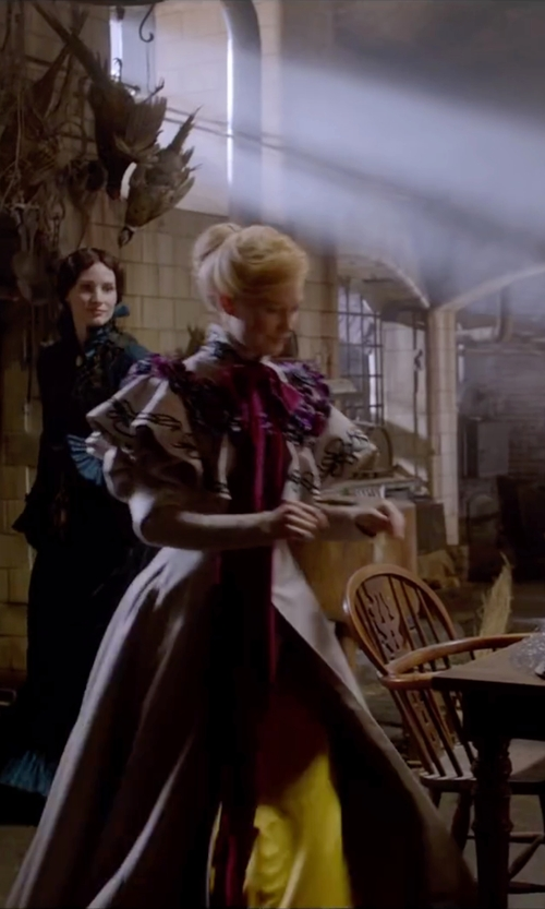 Mia Wasikowska with Kate Hawley (Costume Designer) Custom Made Caped  Victorian Dress in Crimson Peak
