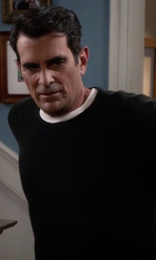 Ty Burrell with Neiman Marcus Cashmere-Silk Crewneck Sweater in Modern Family