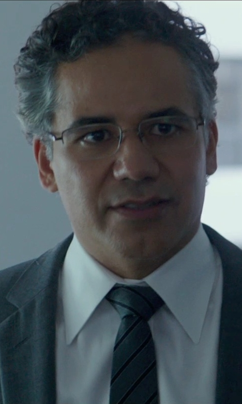 John Ortiz with Foster Grant Men's Lyden Rectangular Reading Glasses in Blackhat