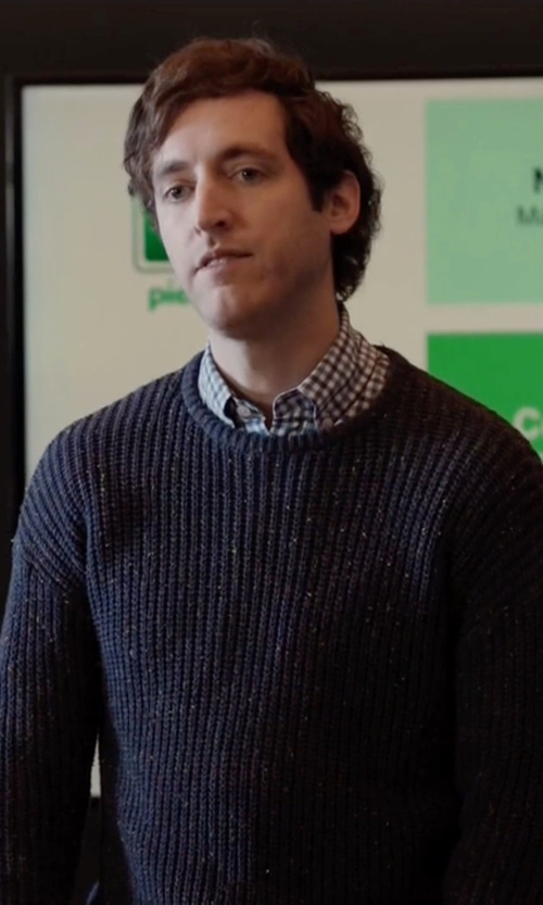 Thomas Middleditch with River Island Ribbed Knit Sweater in Silicon Valley