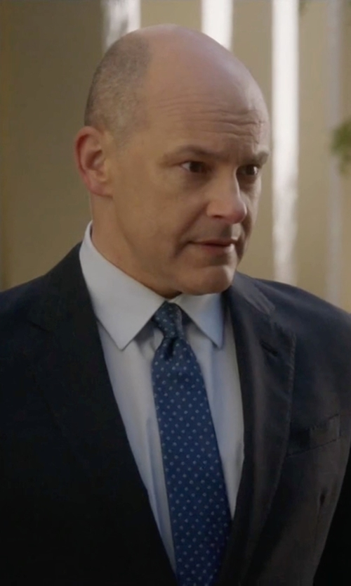 Rob Corddry with Tom Ford Mini-Dot Print Silk Tie in Ballers