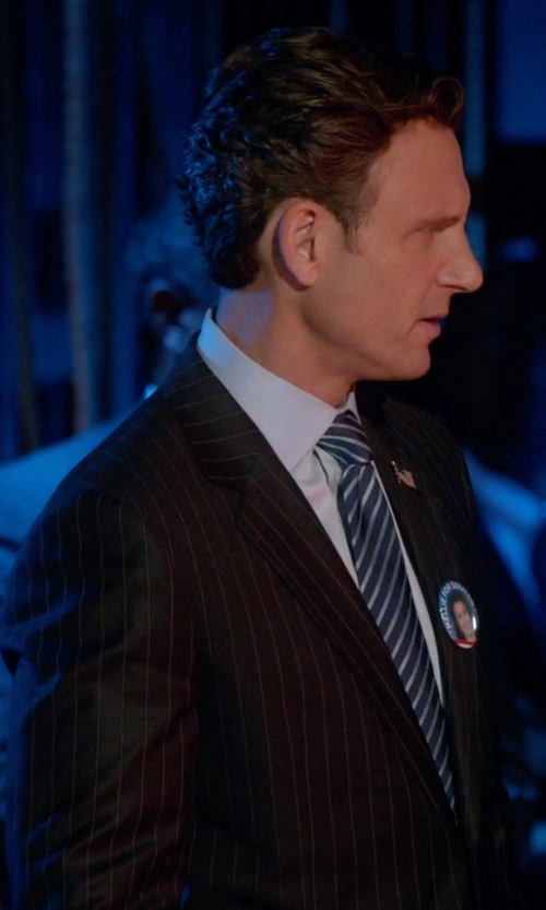 Tony Goldwyn with Hickey Freeman Multi-Stripe Suit in Scandal