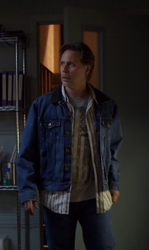 Don Harvey with Levi's Suede Collar Denim Jacket in The Blacklist