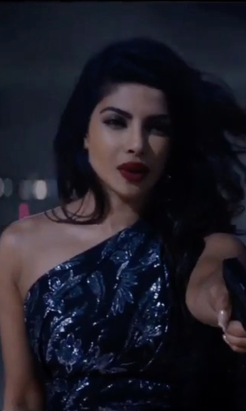 Priyanka Chopra with David Meister Embroidered One-Shoulder Dress in Baywatch