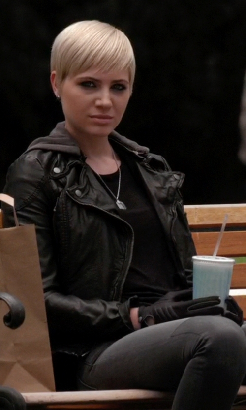 Dre Davis with Free People  Vegan Leather Hooded Jacket in Pretty Little Liars