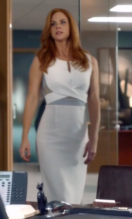 Sarah Rafferty with Roland Mouret Betley Dress in Suits